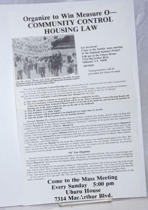 Organize to win Measure O - Community Control Housing Law [handbill