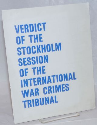 Verdict of the Stockholm session of the International War Crimes Tribunal