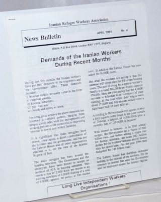 News Bulletin. No. 4 (April 1995). Iranian Refugee Workers Association