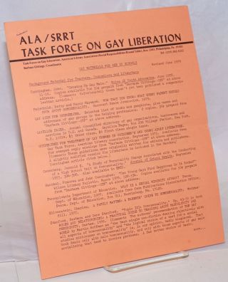 Gay Materials in Schools [handbill]. ALA/SRRT Task Force on Gay Liberation