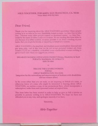 Able-Together Open Form Letter [handbill
