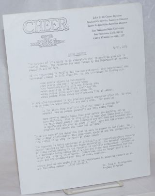 CHEER: Center of Homosexual Education & Research [open letter] Aging Project, April, 1978. Dr....