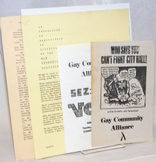 Gay Community Alliance collection of handbills and informational packets. Jim Kepner Gay...