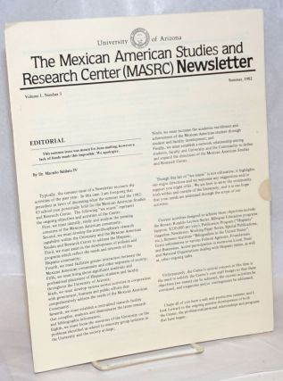 The Mexican American Studies and Research Center (MASRC) Newsletter: vol. 1, #3, Summer 1982