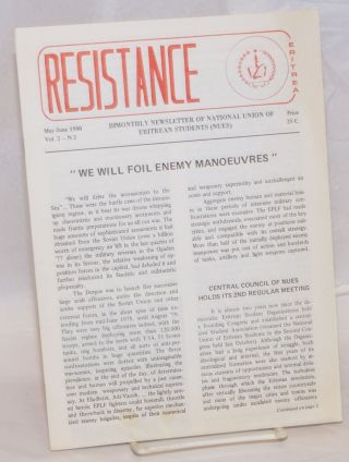 Resistance. Vol.2 no. 2 (May-June 1980). National Union of Eritrean Students