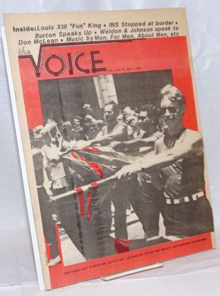 The Voice: more than a newspaper; vol. 3, #14, July 3, 1981; Gay Freedom Day cover photo. Paul D....