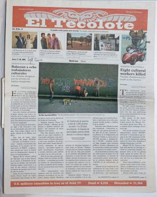 El tecolote: a Chicano-Latino bilingual newspaper serving the Bay Area; Vol. 38 No. 12, June...