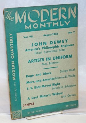 The modern monthly, vol. 7, no. 7, August 1933. V. F. Calverton, ed