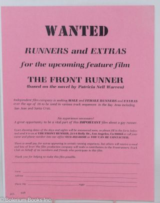 "Wanted: Runners and extras for the upcoming feature film ""The Front Runner"" (based on the novel..."