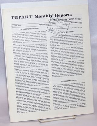 TUPART monthly reports on the underground press. Vol. 1 no. 1 (Nov. 1970