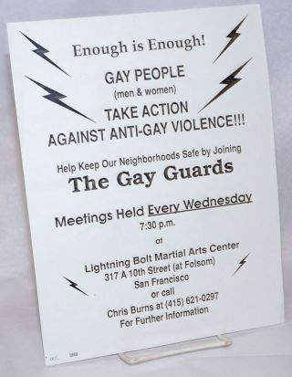 Enough is Enough! Gay People (men & women) Take Action Against Anti-Gay Violence!!! help keep our...