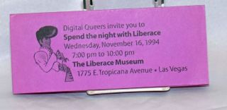 Digital Queers invite you to Spend the Night with Liberace [brochure] Wednesday, November 16, 1994 at the Liberace Museum