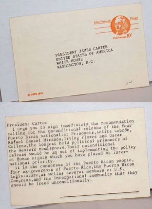 Postcard to President Carter requesting the release of the four Puerto Rican Nationalist...