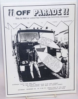 ¡¡Off Parade!! This is NOT a Lesbian/Gay Freedom Day Committee Newspaper [handbill] This is a...