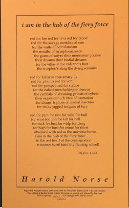 I am in the hub of the fiery force [broadside]. Harold Norse
