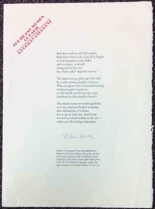 The Island Women Of Paris [signed broadside]. Rita Dove