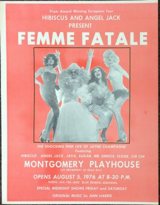 "Hibiscus and Angel Jack present ""Femme Fatale"" / The shocking pink life of Jayne Champagne [poster"