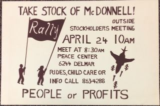 Take stock of McDonnell! Outside stockholders meeting... People or Profits [poster