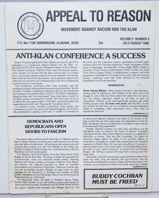 Appeal to reason, vol. 2, no. 3, July/August 1980. Movement Against Racism, the Klan