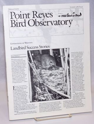 Point Reyes Bird Observatory. Newsletter 81, Summer 1988. Susan Peaslee