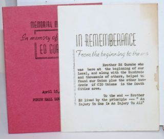 Two brochures from memorials in honor of Ed Gurske]. Ed Gurske