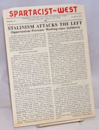 Spartacist-West. Number 18, 27 March 1970. Bay Area Spartacist League