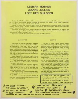Lesbian mother Jeanne Jullion lost her children [handbill]. Jeanne Jullion
