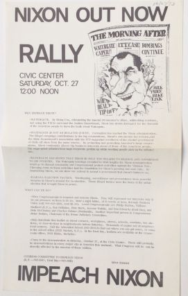 Nixon out now rally... Impeach Nixon [handbill