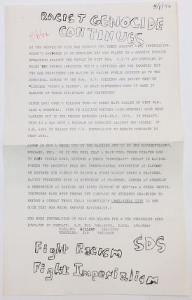 Racist genocide continues [handbill]. Students for a. Democratic Society