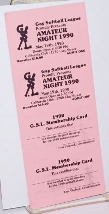 Gay Softball League proudly presents Amateur Night 1990 [membership card