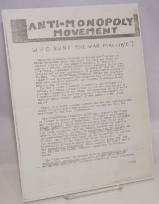 Anti-Monopoly Movement. Who runs the war machine? [handbill
