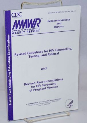 MMWR: Morbidity & Mortality Weekly Report, recommendations and reports; vol. 50, #RR-19, Nov. 9,...