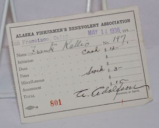 Receipt for initiation fees]. Alaska Fishermen's Benevolent Association