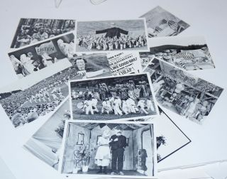 Fourteen postacrd-style printed photos of Bread and Puppet Theater