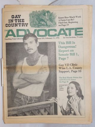 The Advocate: touching your lifestyle; #183, February 11, 1976 in two sections. Robert I....