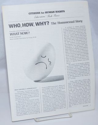 Who, How, Why? the Homosexual story excerpted with permission from What Now? Bill Hutchinson