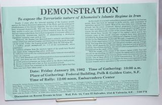 Demonstration to expose the terroristic nature of Khomeini's Islamic regime in Iran ... Date:...