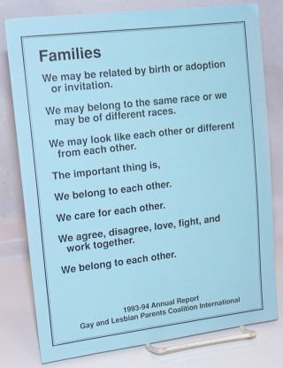 Families: the 1993-94 Annual Report, Gay and Lesbian Parents Coalition International
