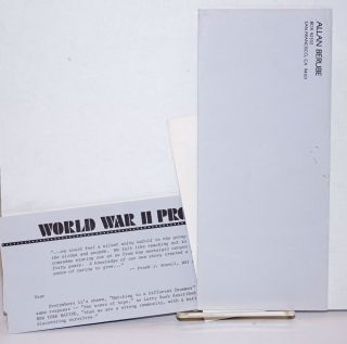 World War II Project [letter]. Allan Berube