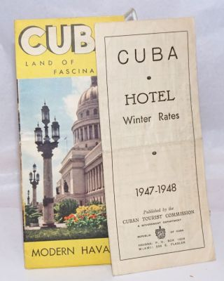 Cuba. Hotel Winter Rates. 1947-1948. Hotels, Name and Address. Rooms (with bath/without bath)....
