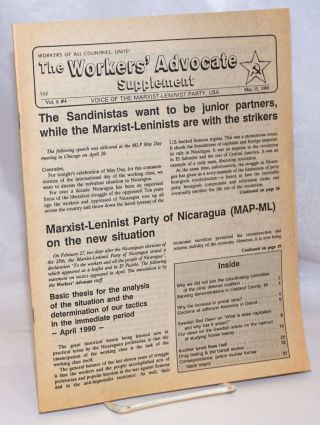 The Workers' Advocate Supplement: Voice of the Marxist Leninist Party, USA; Vol. 6 No. 4, May 15...
