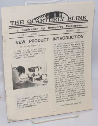 The Quarterly Blink. A publication by Humphrey Employees. Vol. 1 no. 2 (Dec. 1981