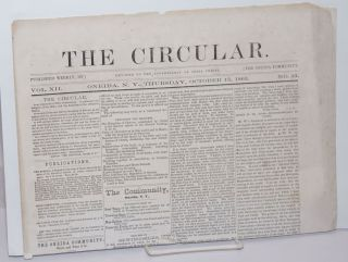 The Circular: Published Weekly by the Oneida Community; Devoted to the Sovereignity of Jesus...