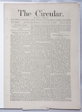 The Circular: Published Weekly by the Oneida and Wallingford Communities; Vol. 4, No. 48, Monday,...