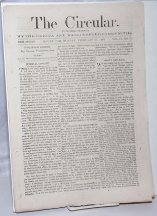 The Circular: Published Weekly by the Oneida and Wallingford Communities; Vol. 4, No. 50, Monday,...