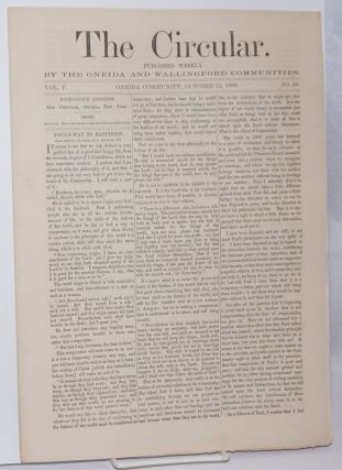 The Circular: Published Weekly by the Oneida and Wallingford Communities; Vol. 5, No. 30, October...
