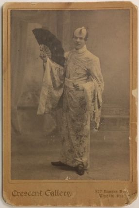 Cabinet card with photo of an actor in Japanese costume