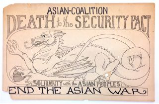 Death to the Security Pact / Solidarity with the Asian Peoples [hand-drawn placard depicting...
