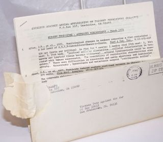 Phenoxy Herbicides: annotated bibliography - March 1979 [Folded mailing with cover letter addressed to Vietnam Veterans Against the War]
