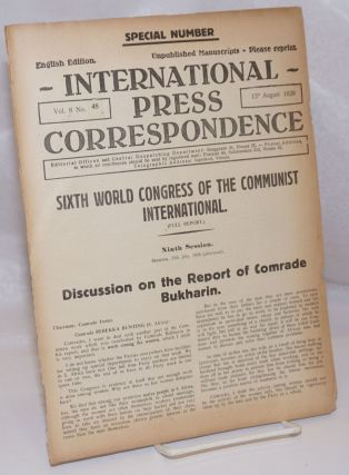 International press correspondence; English edition, vol. 8, no. 48. 13st August 1928. Special...